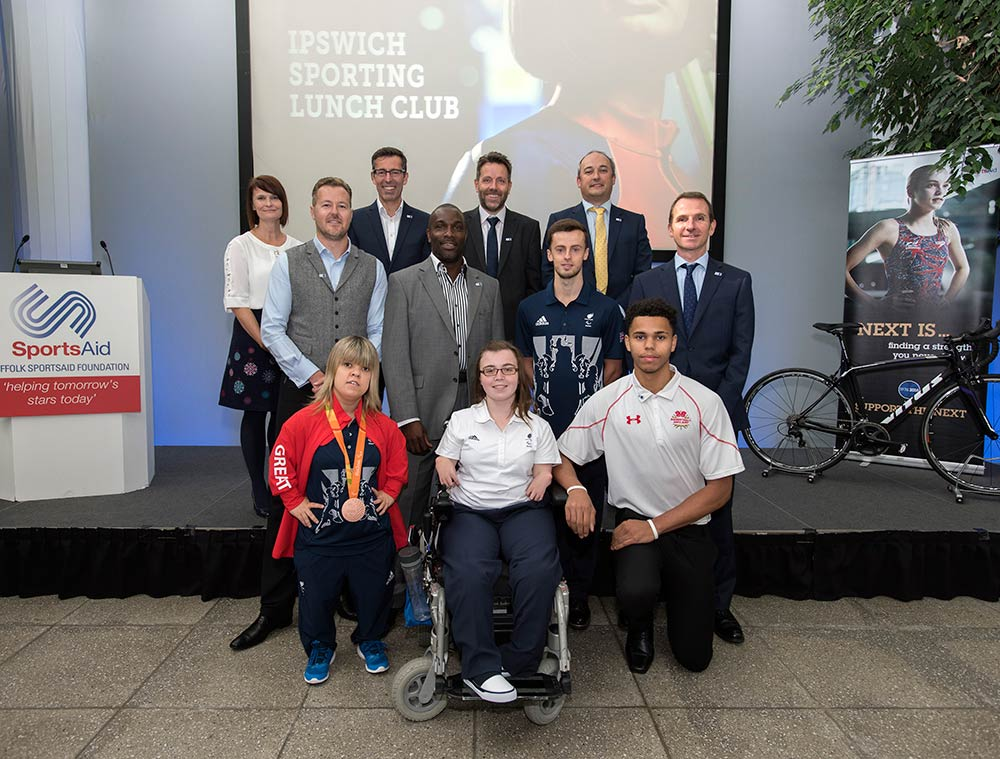 Ipswich Sporting Lunch Club-sportsAid September 2016. Zoe Newson, Ryan Crouch and Evie Edwards.