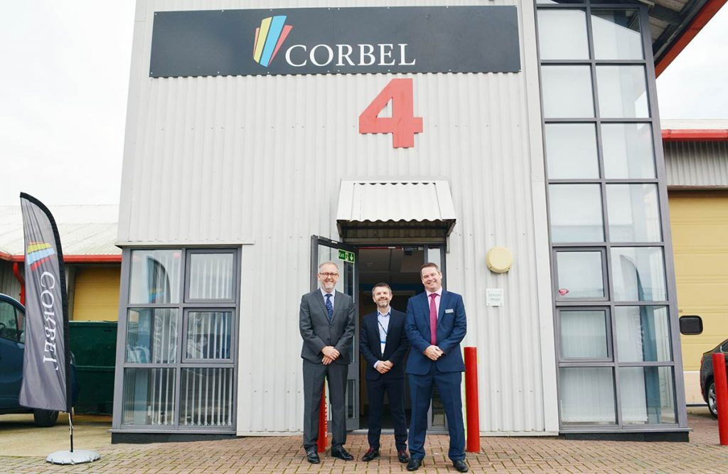 Corbel and MIGSOLV directors outside the Corbel Disaster Recovery suite at Farthing Road