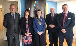 (left to right: Tim Goddard, Karen Rogers, Mayor of Ipswich Councillor Sarah Barber, Councillor Colin Kreidewolf, Paul Lough) Photo: James Ling