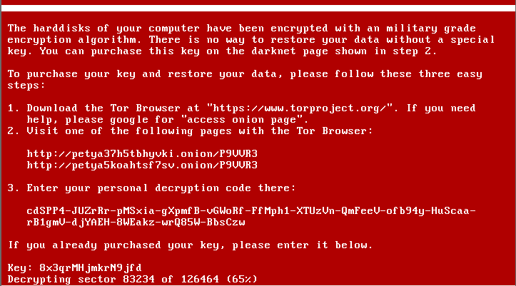 petya ransomware screen